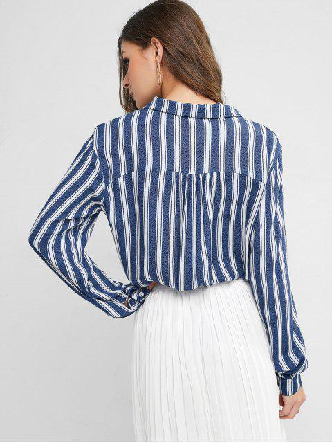 new ZAFUL Lapel Striped Chest Pocket Button Up Blouse - MULTI-A L Mobile