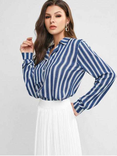 outfit ZAFUL Lapel Striped Chest Pocket Button Up Blouse - MULTI-A M Mobile
