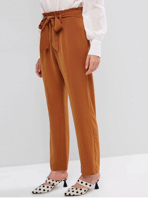 Pantalones ZAFUL Peg Leg Doble bolsillo paperbag - Goldenroed Oscuro XL Mobile