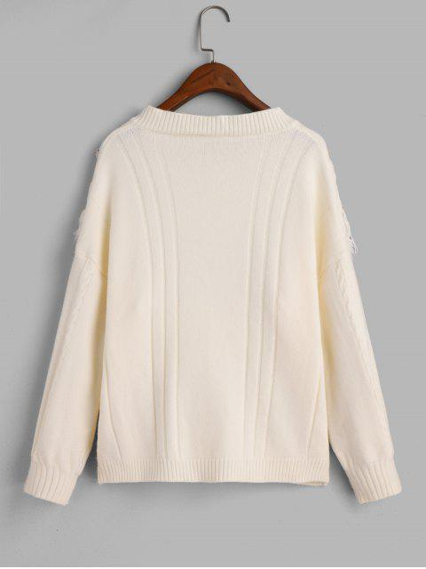lady V Neck Fringed Cable Knit Pullover Sweater - BEIGE ONE SIZE Mobile