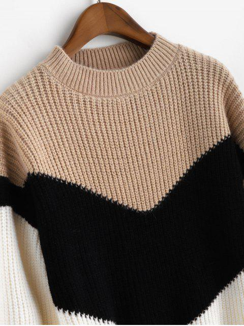 latest Mock Neck Colorblock Pullover Sweater - MULTI-C ONE SIZE Mobile