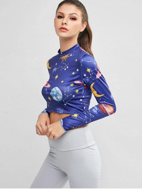 fancy ZAFUL Moon Sun Planet Starry Long Sleeve Crop Tee - MULTI-A XL Mobile