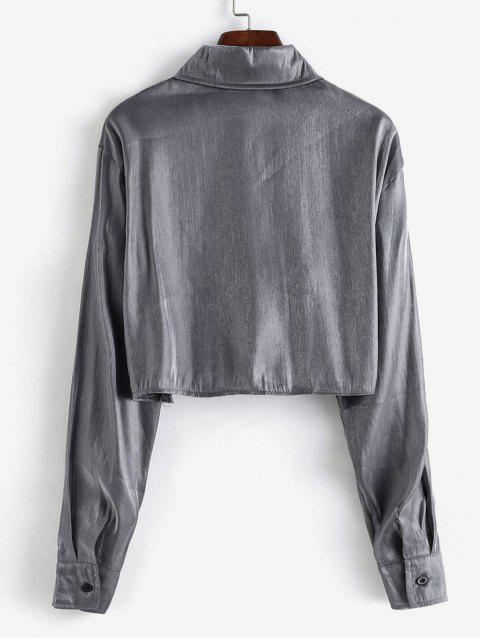 unique Lustrous Cropped Shirt - GRAY ONE SIZE Mobile
