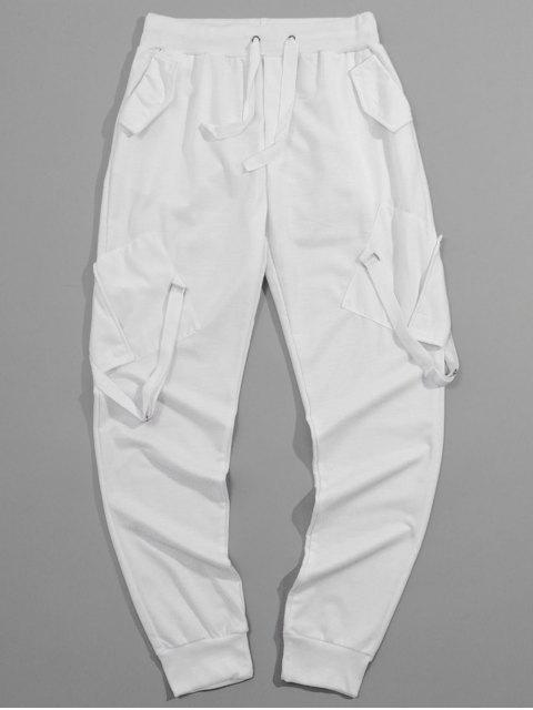 絲帶口袋彈性長運動褲慢跑者 - 白色 L Mobile