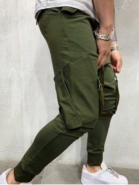 best Ribbon Pockets Long Elastic Sport Jogger Pants - ARMY GREEN M Mobile