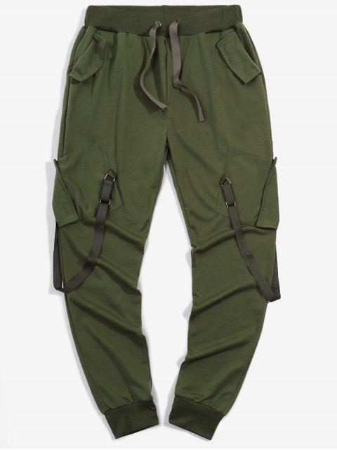 best Ribbon Pockets Long Elastic Sport Jogger Pants - ARMY GREEN XL Mobile