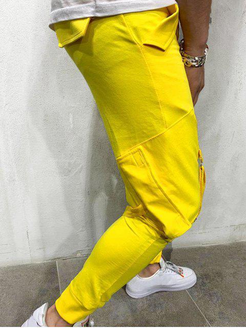 women's Ribbon Pockets Long Elastic Sport Jogger Pants - YELLOW 2XL Mobile