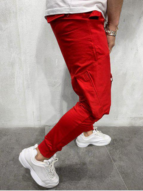 unique Ribbon Pockets Long Elastic Sport Jogger Pants - RED M Mobile