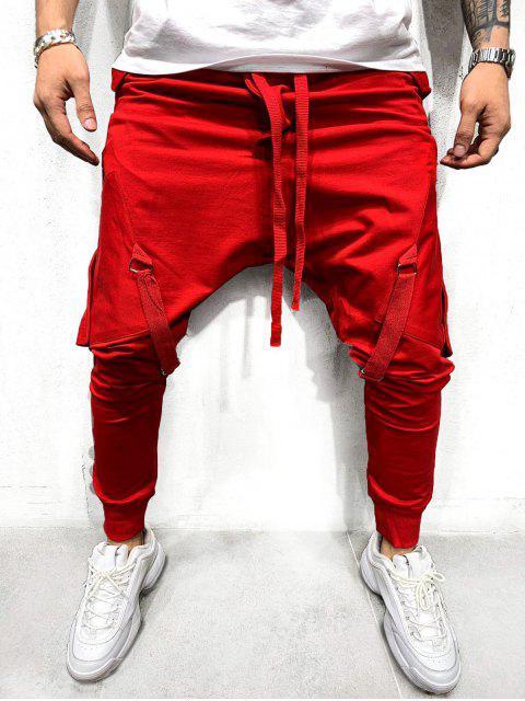 latest Ribbon Pockets Long Elastic Sport Jogger Pants - RED L Mobile