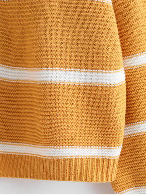 ladies ZAFUL Striped Drop Shoulder Oversized Textured Sweater - YELLOW ONE SIZE Mobile