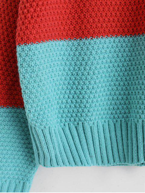 online ZAFUL Color-blocking Drop Shoulder Textured Sweater - MULTI-A ONE SIZE Mobile