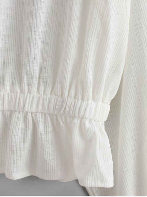 latest Dolman Sleeves Ruffle Hem Solid Blouse - WHITE XL Mobile