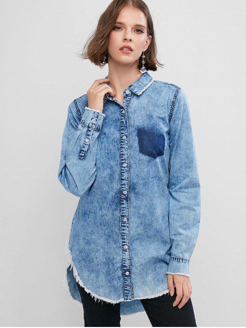 Camisa ZAFUL Alto Bajo Denim - Azul Denim S Mobile