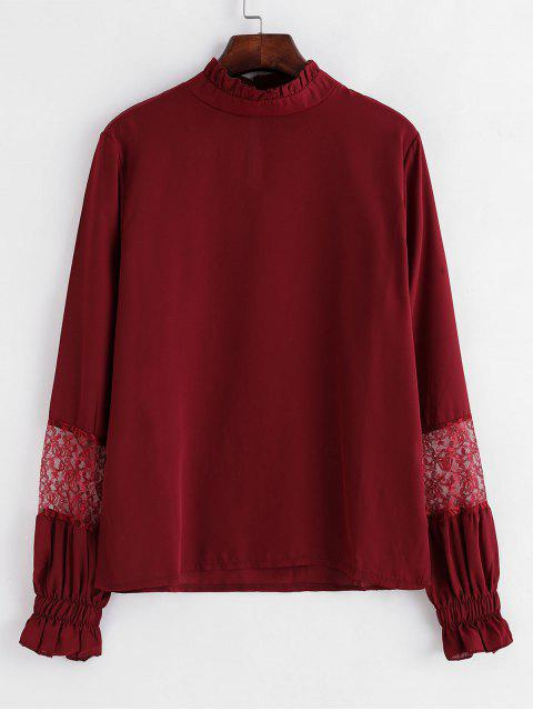outfit Lace Panel Poet Sleeves Ruffled Neck Blouse - RED WINE L Mobile