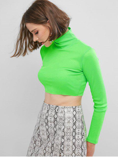 women's High Collar Ribbed Crop T-shirt - GREEN L Mobile