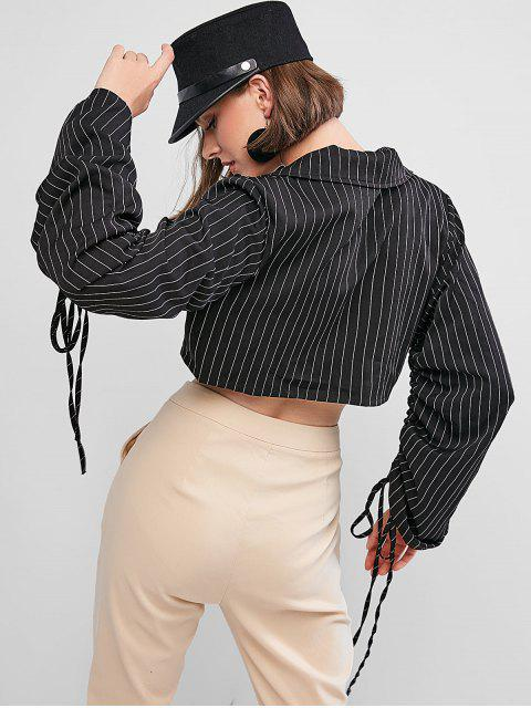 outfit Striped Cinched Sleeve Lapel Crop Shirt - BLACK L Mobile