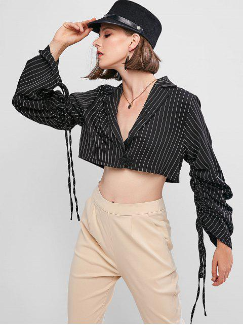 outfit Striped Cinched Sleeve Lapel Crop Shirt - BLACK S Mobile