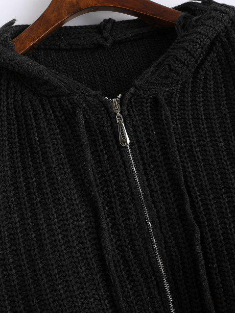 sale Hooded Zip Up Frayed Chunky Cardigan - BLACK ONE SIZE Mobile