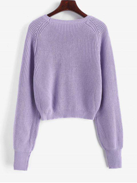 outfit Raglan Sleeve Crew Neck Pullover Sweater - PURPLE L Mobile