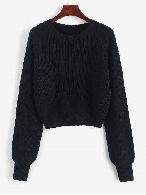 chic Raglan Sleeve Crew Neck Pullover Sweater - BLACK M Mobile