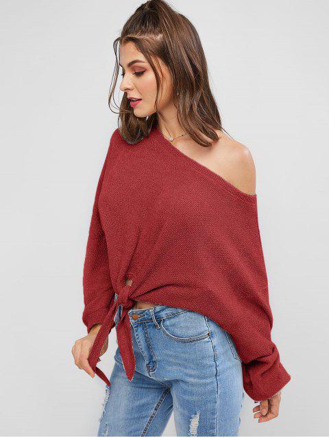 fancy ZAFUL Self-tie Oversized Sweater - CHERRY RED S Mobile