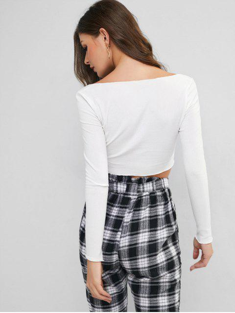 affordable Low Cut Ribbed Slim Cropped Tee - WHITE M Mobile