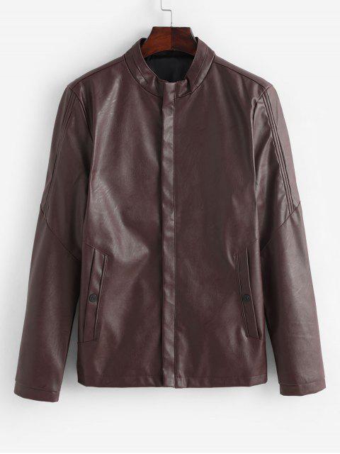 new Solid Color Zip Up PU Biker Jacket - RED WINE M Mobile