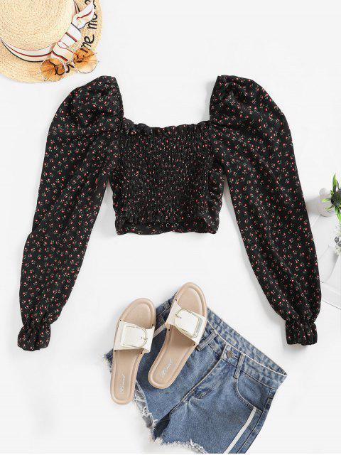 sale Tiny Floral Lace Up Smocked Crop Blouse - BLACK S Mobile