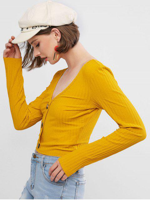 chic ZAFUL Mock Button Double V Neck Ribbed Cropped T-shirt - BEE YELLOW S Mobile