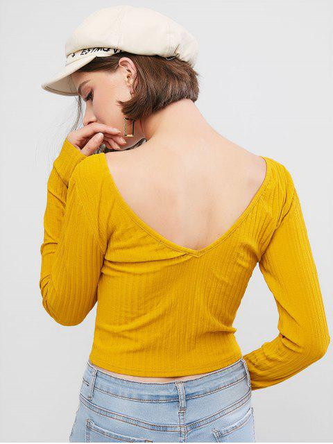 women's ZAFUL Mock Button Double V Neck Ribbed Cropped T-shirt - BEE YELLOW XL Mobile