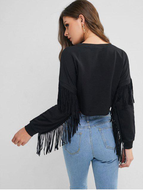 Caída del hombro suéter con flecos recortada con capucha - Negro S Mobile