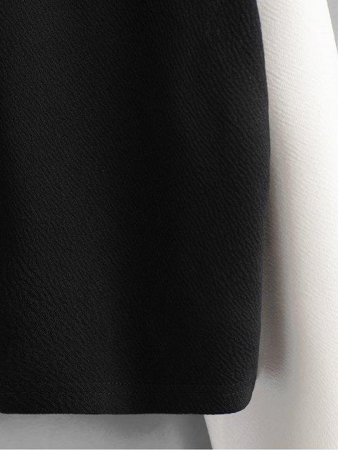 ZAFUL Sudadera Recortada de Dos Colores - Negro S Mobile