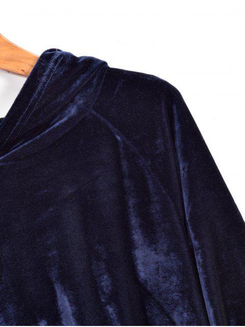 buy ZAFUL Drawstring Raglan Sleeve Velvet Hoodie - CADETBLUE L Mobile