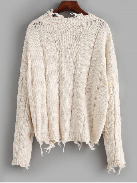 ZAFULXLunaMontanaダメージ加工 ケーブル 無地 ニット セーター - 暖かい白 ワンサイズ Mobile