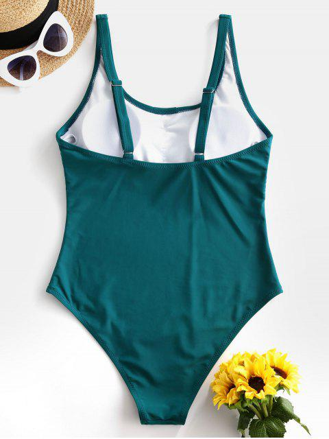 fancy ZAFUL Buttoned Backless High Cut One-piece Swimsuit - GREENISH BLUE S Mobile