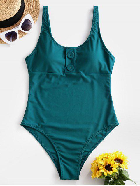 ZAFUL鈕扣露背高切連體泳衣 - 綠藍 L Mobile