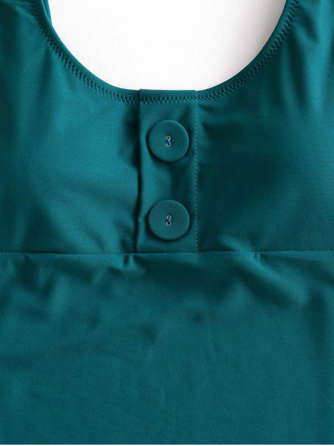 ZAFUL Пуговицы Открытая спина Высокий вырез Слитный Купальник - Зелено-синий M Mobile