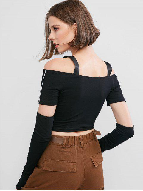outfit Reflective Piping Cold Shoulder T-shirt with Arm Sleeves - BLACK M Mobile