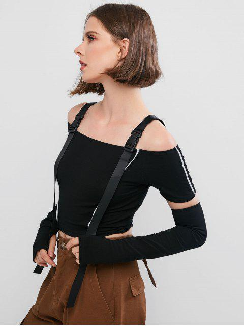 sale Reflective Piping Cold Shoulder T-shirt with Arm Sleeves - BLACK S Mobile
