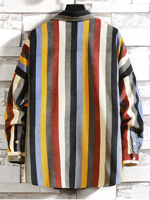 fancy Colorful Striped Pockets Drop Shoulder Corduroy Shirt - MULTI-B 2XL Mobile