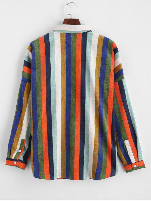 Camicetta In Velluto A Coste A Righe Colorate Con Tasche A Spalle Oblique - Multi Colori-A 3XL Mobile
