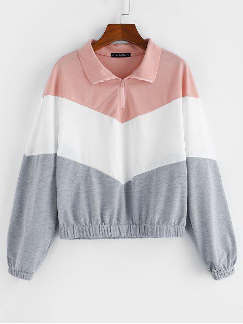 ZAFUL Zickzack Farbblock Viertel Reißverschluss Sweatshirt - Multi XL Mobile