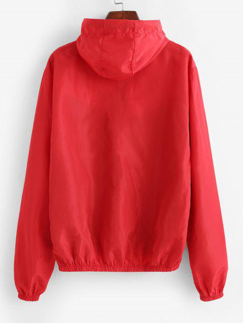 ladies Zip Up Colorblock Pockets Windbreaker Jacket - MULTI-A L Mobile