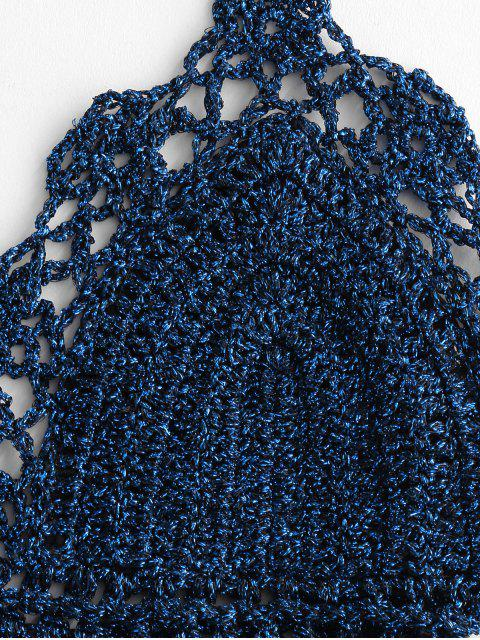 Halter prickelnde Krawatte Crochet Bikini-Badeanzug - Ozeanblau S Mobile