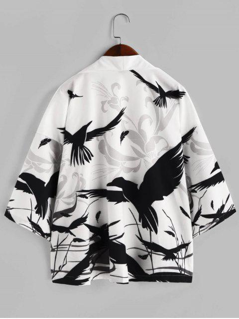 buy Floral Bird Painting Plant Print Open Front Kimono Cardigan - WHITE L Mobile