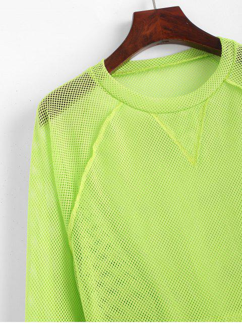 affordable Raglan Sleeve Neon Breathable Mesh Cropped Tee - GREEN S Mobile
