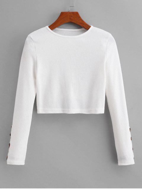best Buttoned Sleeve Cropped Ribbed Tee - WHITE L Mobile
