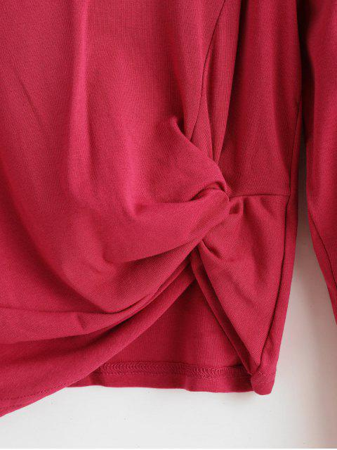 best Twisted Long Sleeve Plain T-shirt - RED ONE SIZE Mobile
