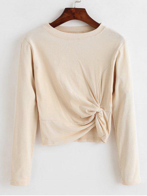 lady Twisted Long Sleeve Plain T-shirt - WARM WHITE ONE SIZE Mobile