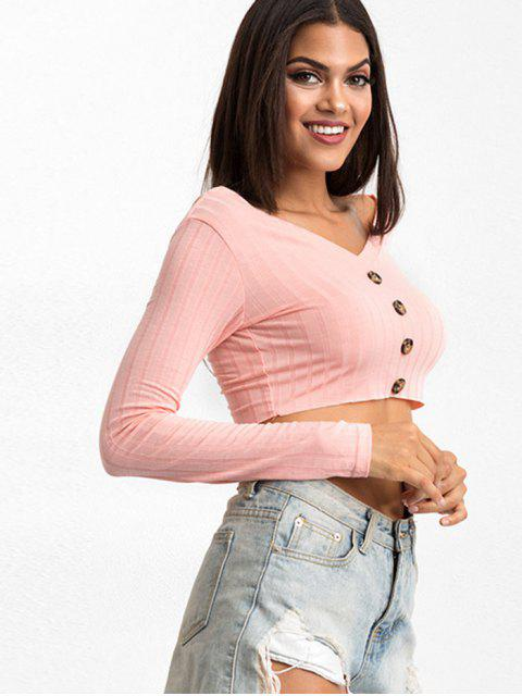 outfit V Neck Buttoned Front Cropped Tee - PINK M Mobile